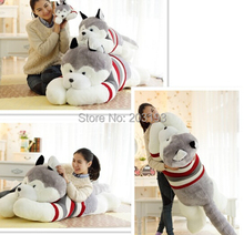 Free shipping 100cm Husky pillow stuffed dog doll cute dogs lie prone to lie prone pillows doll girl a birthday present(China (Mainland))