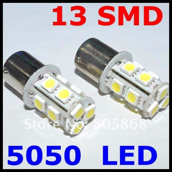 50pcs 1156 BA15S led 13 SMD r5w Light Tail Brake Turn Signal s25 ba15s p21w LED Car 12V led Bulbs Lamp parking car light source