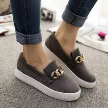 Big Sale Summer Style Women Casual Shoes Female Metal Chain Decoration Breathable Loafers Ladies Round Toe Flats Size 37-39(China (Mainland))
