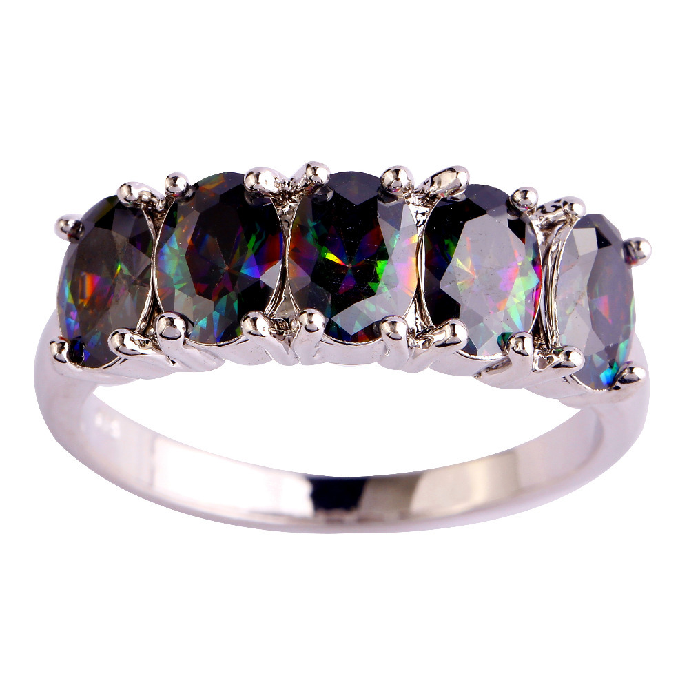 WY New Jewelry Fashion Chic Multi Color Rainbow Sapphire Women Gift Silver Ring Size 6 7 8 9 10 - HI jewelry Co., Ltd. store