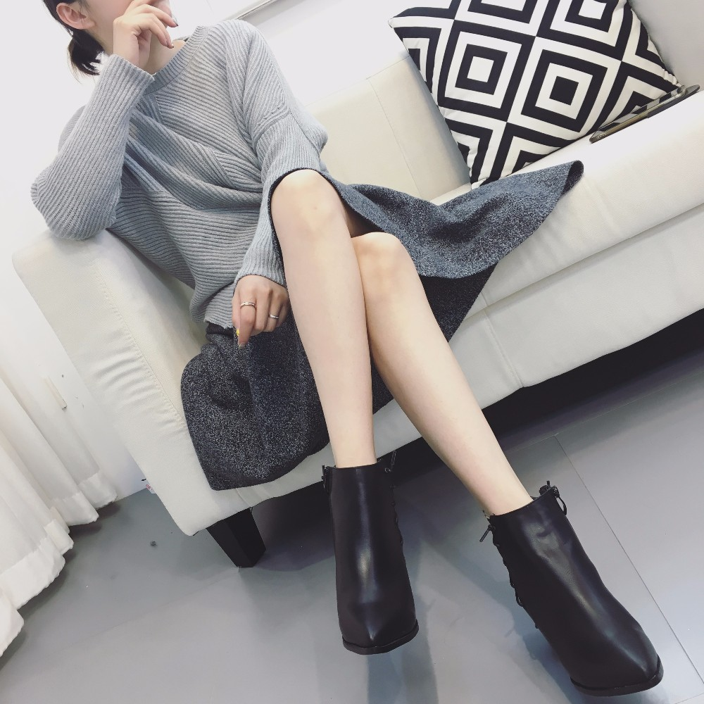 2016 Women's Boots Winter Chelsea Boots fashion high heel boots Genuine leather zip Warm Ankle boots for women cowboy shoe