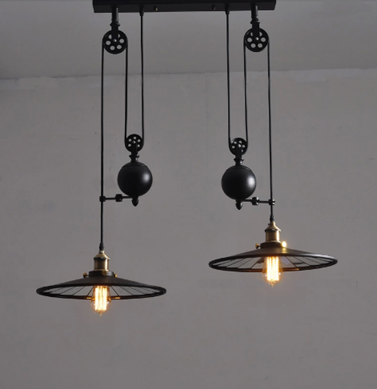 Kitchen Industrial Vintage Lamp With Wheels Retro Black