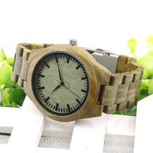 New Arrival Green Sandalwood Wood Men's Wristwatch Japan Movement Quartz Watch Classic Folding Clasp with Wooden Band