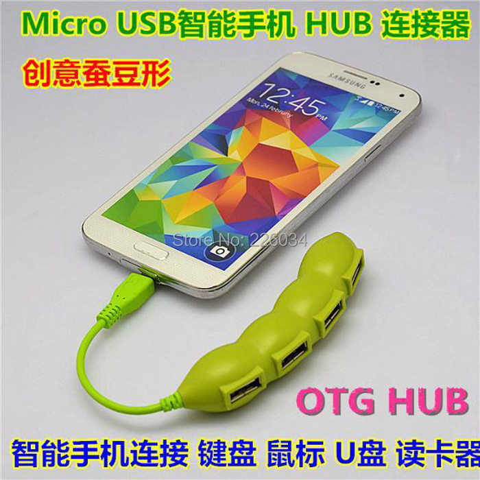 10pcs/lot wholesale High quality! Pea Style Micro USB 2.0 4 Port USB OTG Hub Adapter Connection Kit for OTG Smart Phone/Tablet(China (Mainland))