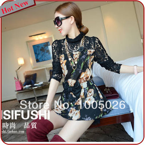 Hot Fashion Designer Top for Women Crochet Lace Blouse Patchwork Floral Print Pattern Bow Basic Long Ladies Chiffon Shirt Y9070(China (Mainland))