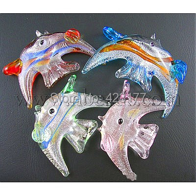 Handmade Silver Foil Glass Pendants, 925 Silver, Tropical Fish, Mixed Color, about 30mm wide, 53mm long, hole:4mm(China (Mainland))