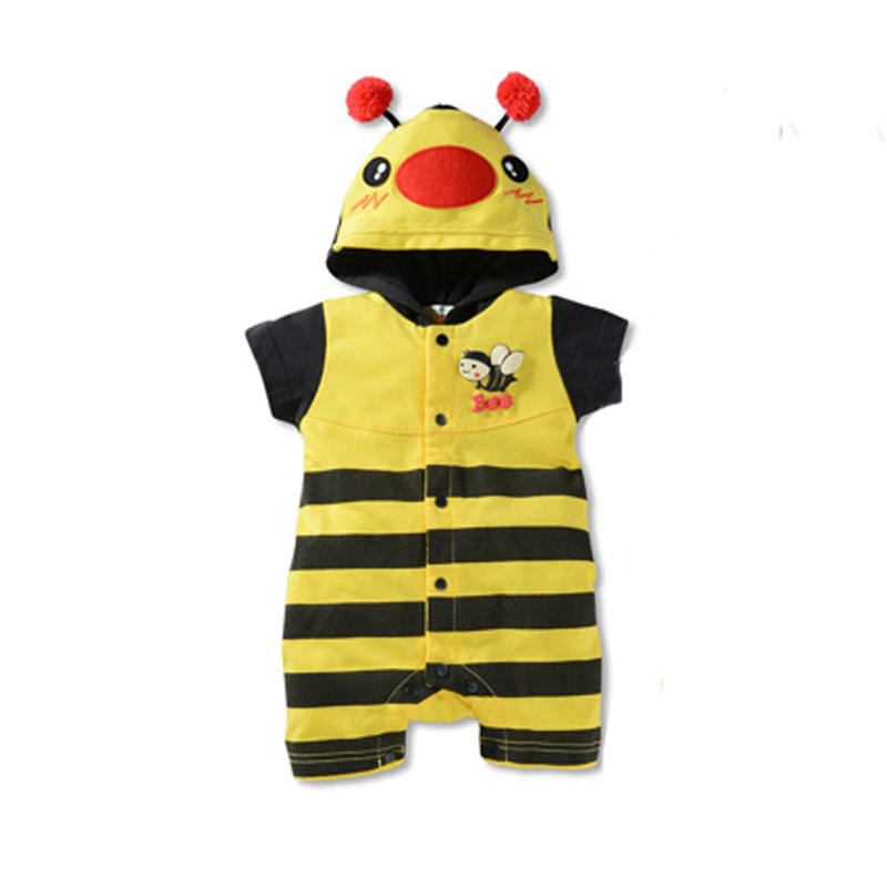 hot sale new baby clothing girls cute cartoon bee shark casual hooded jumpsuit newborn baby rompers boys clothes multicolor