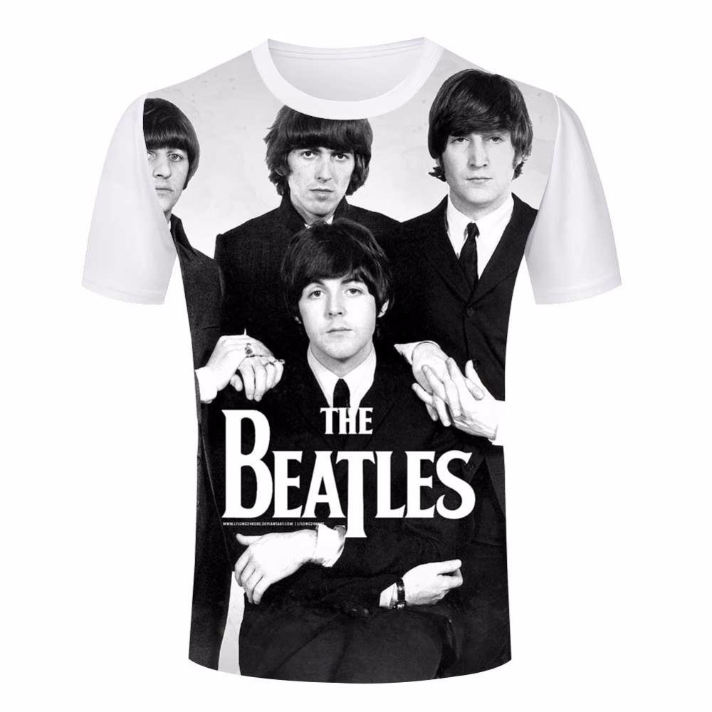 Brand T Shirts the beatles Mens Tees Tops Short Sleeve Crew Neck T shirts Men Euro size Fashion trend 3D T-Shirt Plus Size S-4XL(China (Mainland))