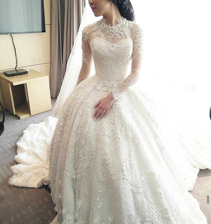 Princess wedding dress 2016 high neck long sleeves for Wedding dresses with high neck and long sleeves