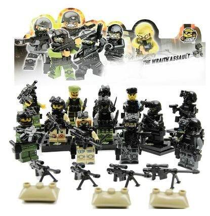2015 New 12pcs / set military cs terrorism police Marines minifigures brick model toys building blocks collection children gift(China (Mainland))