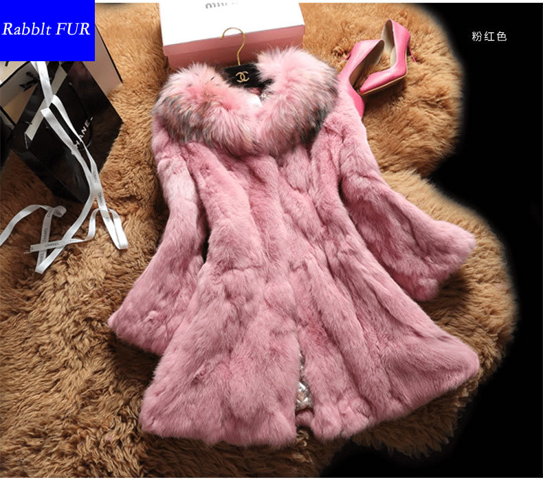 Le051f 2015 new women's coat real fur parka rabbit raccoon collar long sections Hooded Slim colth - Gangnam Style Store store