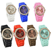 lackingone Geneva Silicone Golden Crystal Stone Quartz Ladies/Women/Girl Jelly Wrist Watch Candy Colors Free Shipping
