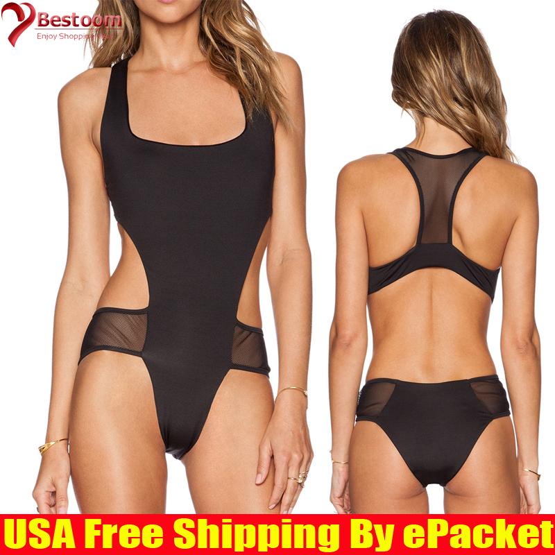 Bestoom Mesh Swimsuit 2015 Newest Fashion Girl Swim Body Suit Sexy Triangle Swimwear One Piece Bathing Suits For Women Black(China (Mainland))