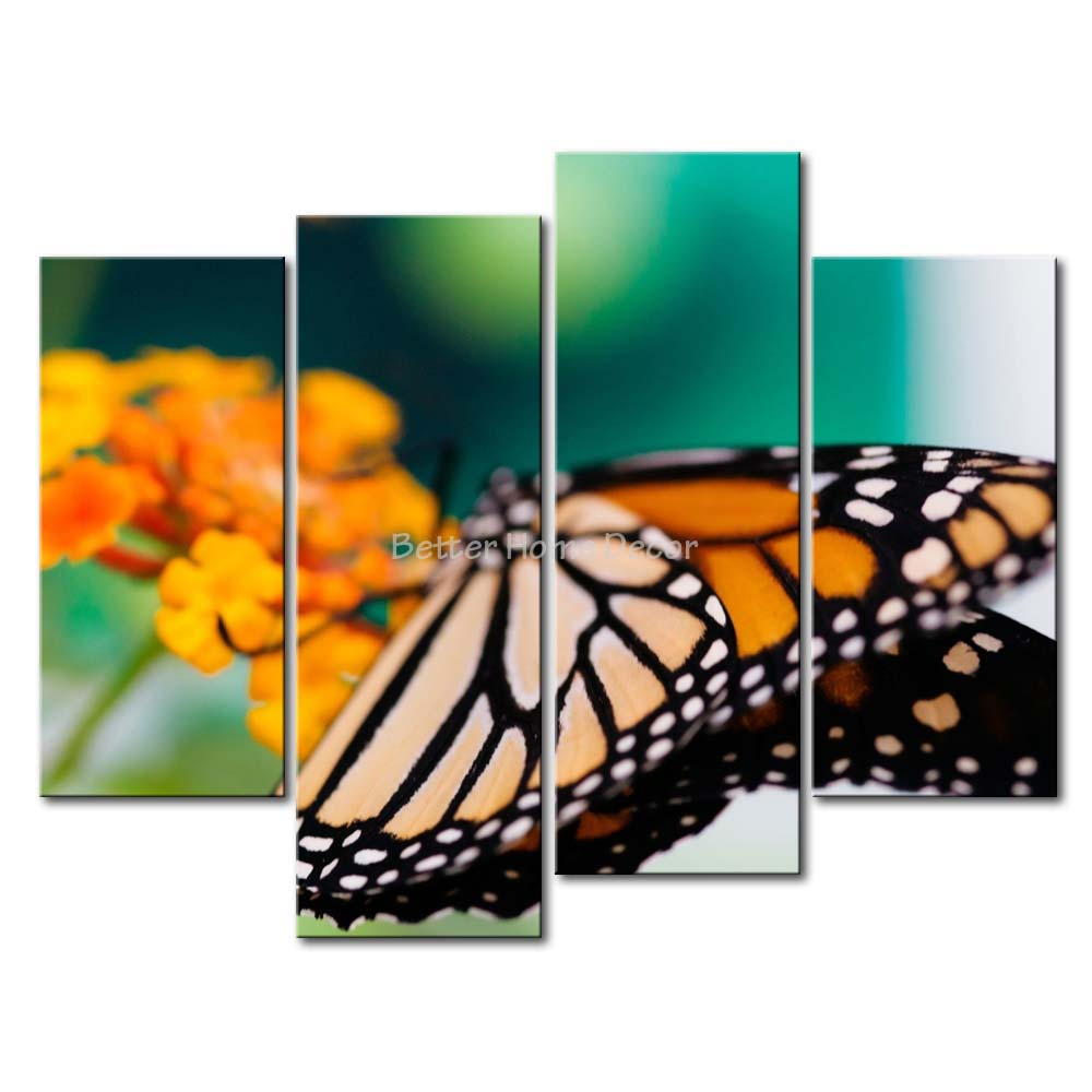 3 Piece Wall Art Painting Monarch Butterfly Stop On Yellow Flower Print On Canvas The Picture Animal 4 5 Pictures(China (Mainland))