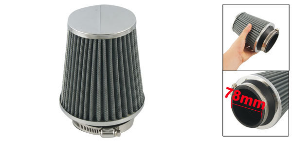 Auto Carbon Fiber Filter 78mm 3 Diameter Universal Conical Mesh Air Intake Engine Filter w Adjustable