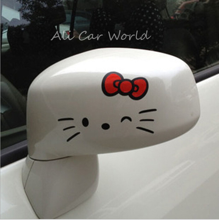 Hello Kitty Car Accessories 2pcs/set Car Sticker Anime Cute Car Styling Reflective Stickers Funny Posted On Rearview Mirrow(China (Mainland))