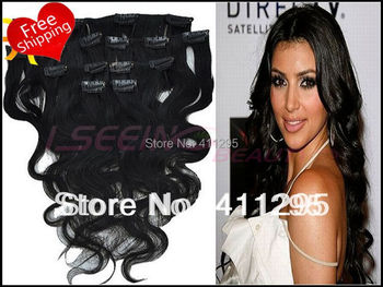 Promotion Body wave 6A clip in hair extension human hair brazilian remy hair extension #1 jet black 16--24inch free shipping