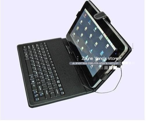 "Free shipping wholesale 7"" 8"" 10"" inch keyboard case Leather case with usb keyboard bracket for apad epad ebook mid Tablet PC"