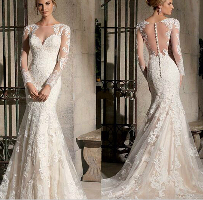 2015 elegant scoop long sleeves lace wedding dress mermaid for Plus size mermaid wedding dresses with sleeves