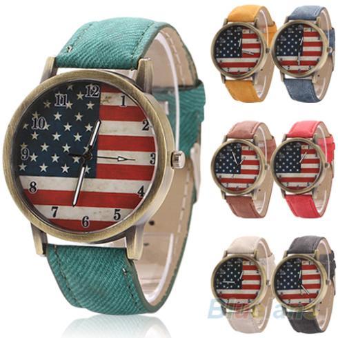 Unisex women men Vintage United States Flag Bronze Denim Band Quartz Analog Wrist Watch 2KDK
