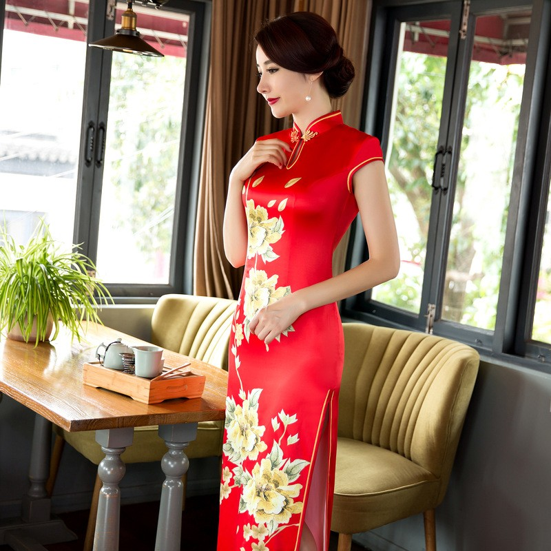 มาใหม่สตรีซาตินยาวCheongsamจีนแฟชั่นสไตล์การแต่งกายที่สวยงามบางQipaoรสเสื้อผ้าขนาดSml XL XXL F072637 ถูก