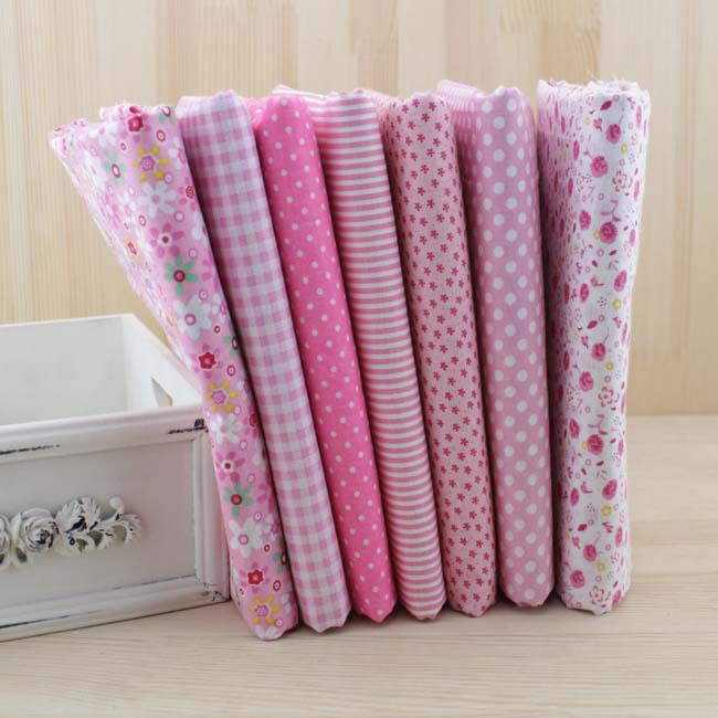7 pcs/lot 50cmx50cm Pink 100% Cotton Fabric fat quarters for Sewing Tilda Doll Cloth DIY Quilting Patchwork Tissue Textile(China (Mainland))