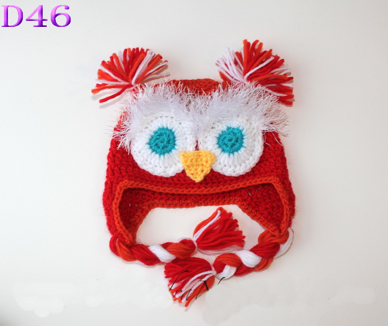 Cute Warm Cotton Baby Toddler Hat Kids Owl Pattern Knitted Crochet Beanie War...