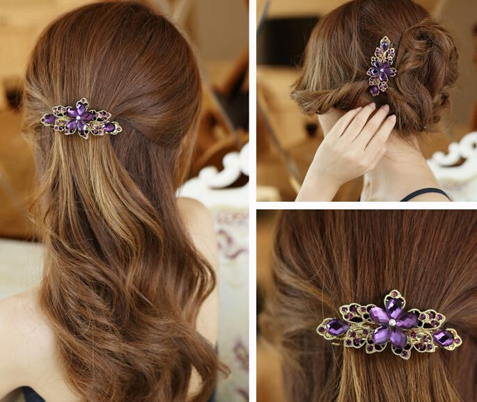 Elegant Fashion New Korean 12pcs/lot Crystal Flower Gold Plated Hair Clip Barrette Jewelry(China (Mainland))