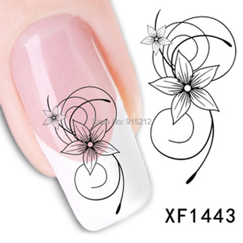 1PCS Watermark Nail Tattoo Cute Black Flower Design Tip Nail Sticker Nail Art Water Decals Manicure Strips For French Manicure(China (Mainland))