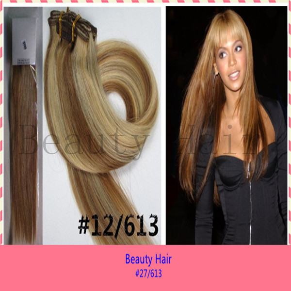 #P12/613 7pcs/lot 80g/lot Cheap Natural Clips In Hair Products Extension Straight Clips On Hair Extensions 22Inch 55cm In Stock(China (Mainland))