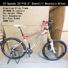 "24 Speeds 26""*18.5"" For Height 190cm Oil Disc Brake Aluminium Alloy Frame Full Suspension ZOOM Fork Downhill Mountain Bikes 26(China (Mainland))"