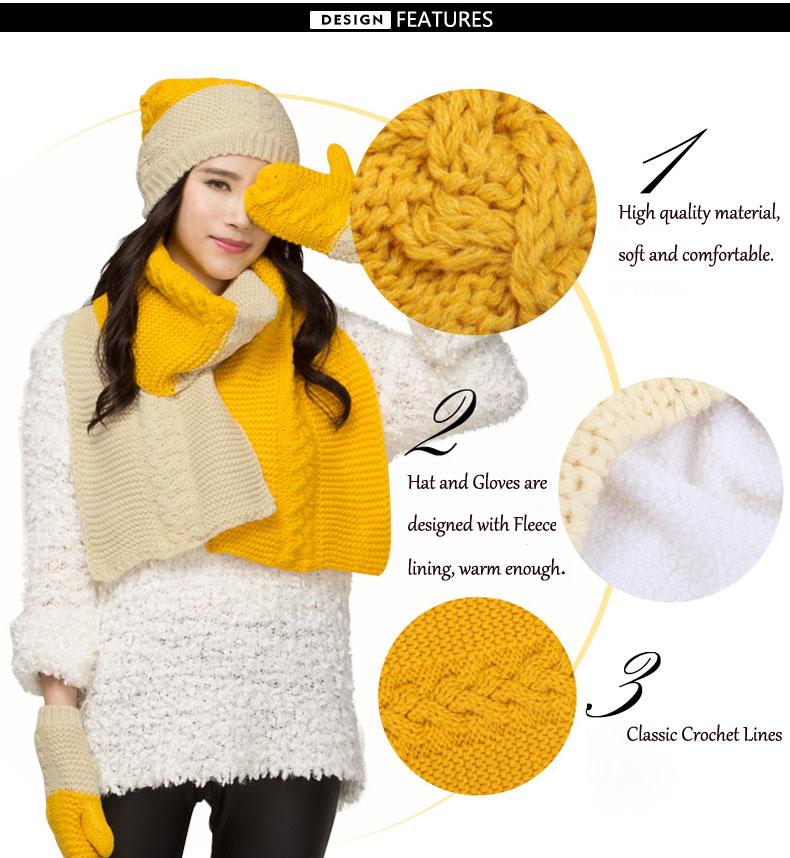 CIVICHIC Korean Style Winter Color Knit Warm Scarf Hat Gloves 3  Piece Set Elegant Crochet Thicken Headwear Twist Shawl SH124