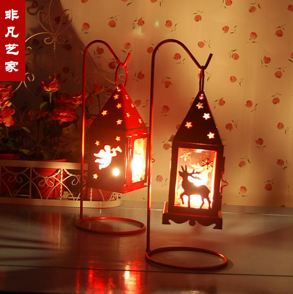Min.order is $15(mix order)7 Designs Red & White Christmas Reindeer Candle Holders European Lantern Christmas Decoration gifts(China (Mainland))