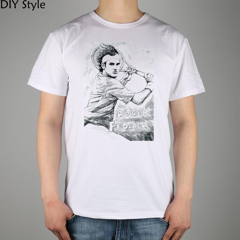 Roger Federer T-shirt  fans Top Lycra Cotton Men T shirt Fashion Original Brand New DIY Style High Quality 10585Одежда и ак�е��уары<br><br><br>Aliexpress