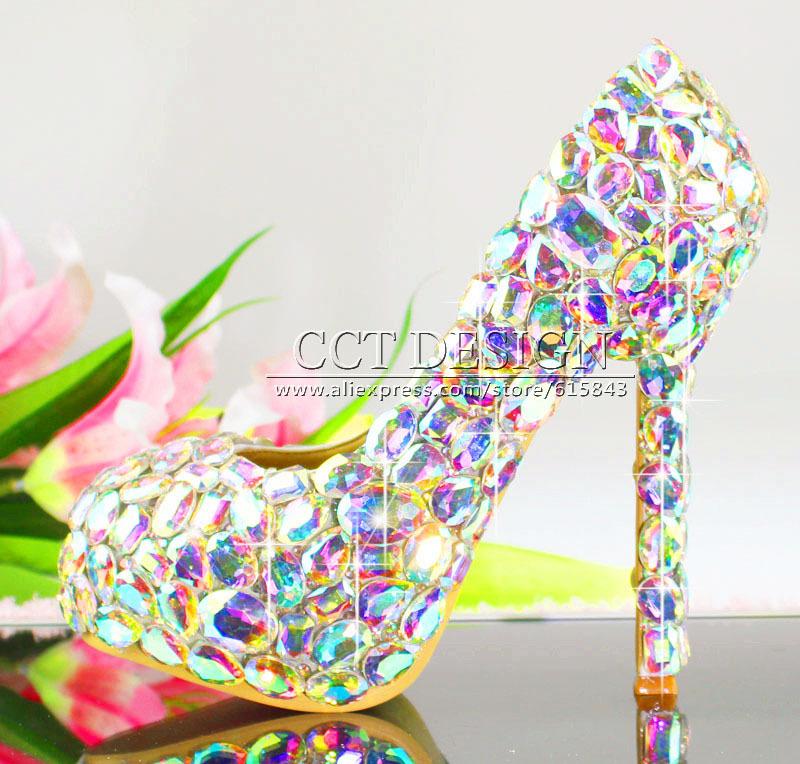free shipping customized sexy ladies iridescent diamond high heels luxury rhinestone wedding bridal shoes<br><br>Aliexpress