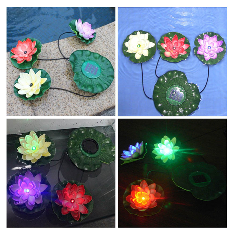 New Solar Powered Lotus Flower Outdoor Light Practical Garden Pool Floating Lotus Solar Light Lamp for Pond Fountain Decoration(China (Mainland))