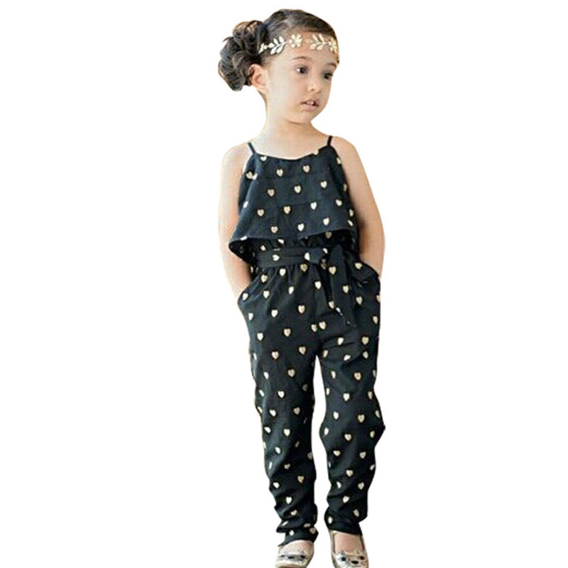 Girls Heart Jumpsuit Hot Selling Kids Clothes Baby Girls Fashion Sling Black Siamese Pants Baby Girls Clothes 2016 Summer Style(China (Mainland))
