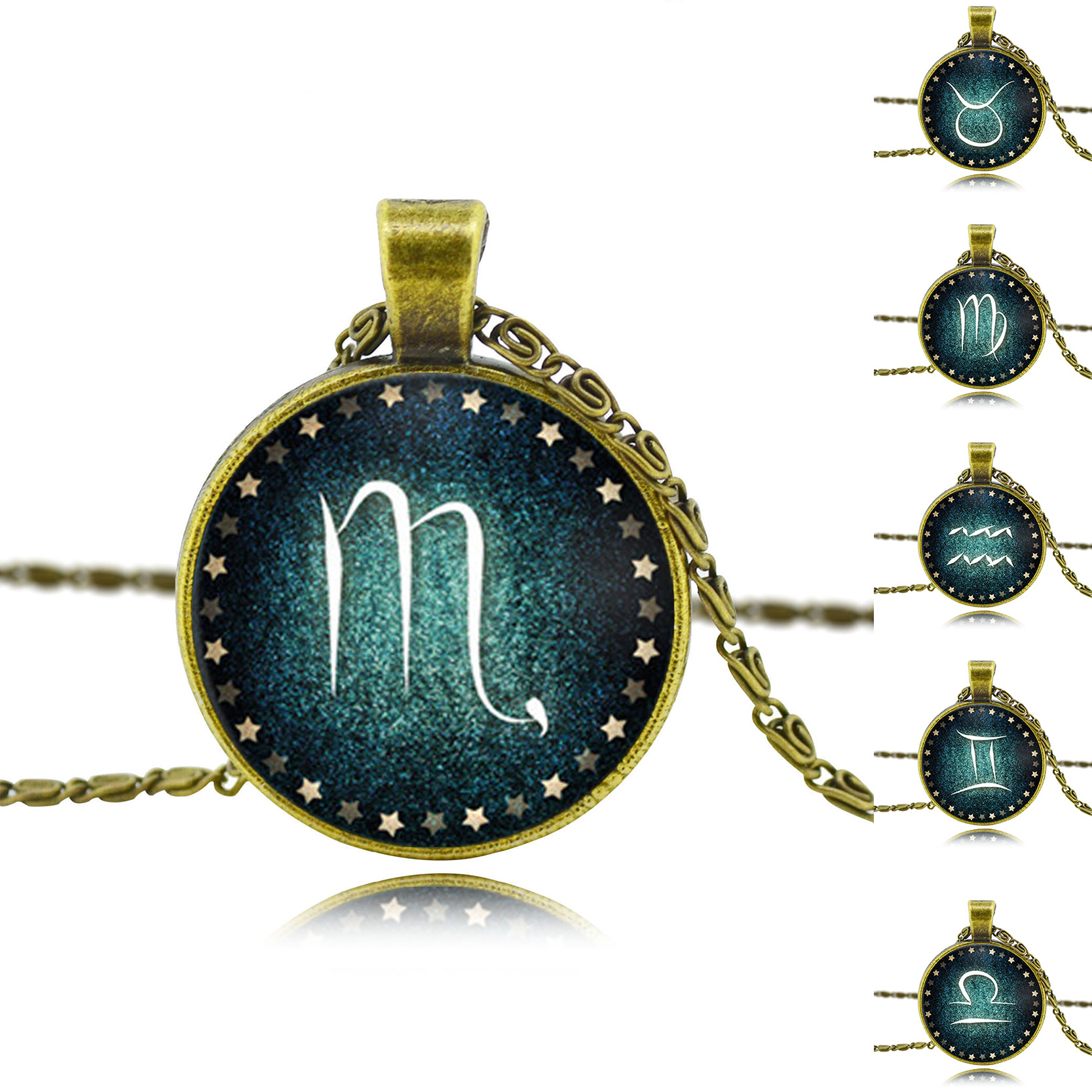 Vintage Antique Bronze Chain Statement Necklaces Fashion Zodiac Pendant Necklaces For Women Cabochon Glass Necklaces Jewelry HOT(China (Mainland))