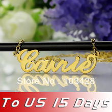 Freeshipping-Personalized Name Necklace Gold Plated Over Silver Initials CARRIE Font Customized Name Jewelry Great Gift(China (Mainland))