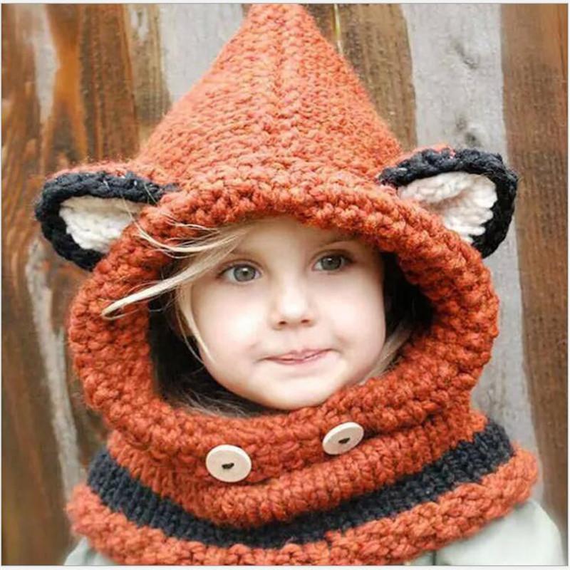 2016 Fashion Winter Crochet Children Hat Boy Girls Neck Warmer Wrap Scarf One-Piece Beanie for Kids Hats Cute Fox Crochet Collar(China (Mainland))