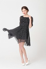 free shipping cocktail half sleeve elegant plus big size half sleeve chiffon polka dots women midi dress