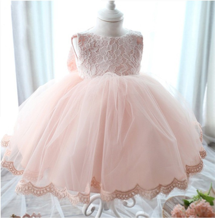 Скидки на ДЕТСКИЕ WOW Белый Розовый Детская Одежда Вечерние Платья Платья Vestido Infantil 1 год День Рождения Свадьба Крестины 8042