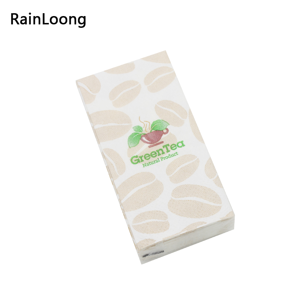 RainLoong Coffee Printed Pocket Napkin Green Tea Tissue Handkerchiefs Decoration Personal Care 21*21cm 10pcs/pack/lot