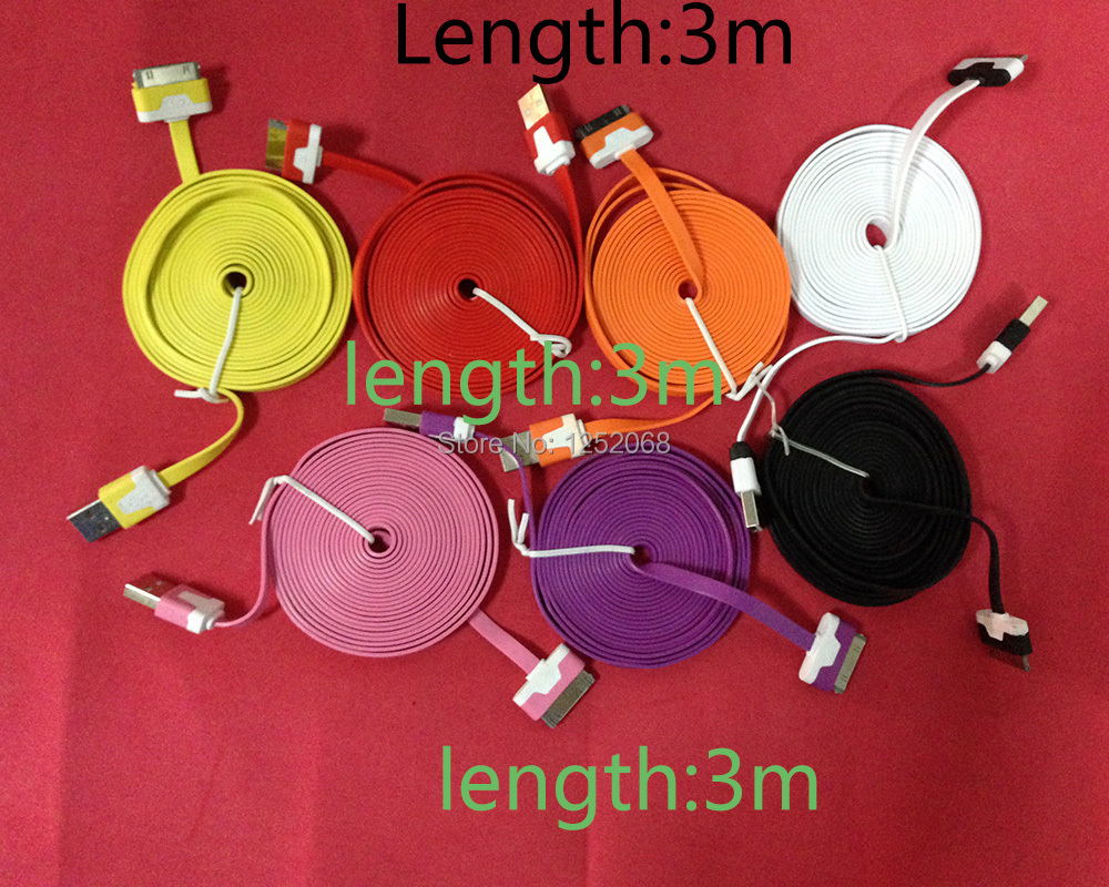 50pcs for iPhone 3 3GS 4 4S for iPad 2 3 length 10ft 3m USB Charger charging Data Sync Cable cabo(China (Mainland))