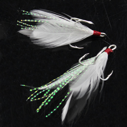 Free Shipping Set of 10pcs New Freshwater Fishing Lures Treble Hook White Feather Trailer Hook<br><br>Aliexpress