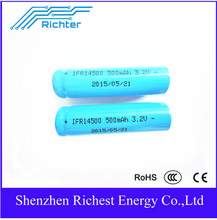 Multipurpose Richter Brand IFR Rechargeable Lithium Battery 14500 -500mah-3.2V flat/pointed   for Consumer Electronics