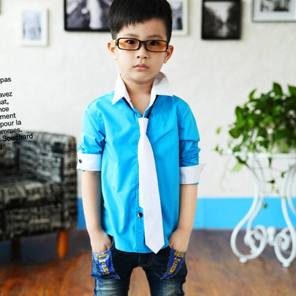 Kid Boy Dress Shirt Toddler Stand Collar With Solid Necktie Set Tops Size 3-8Y(China (Mainland))