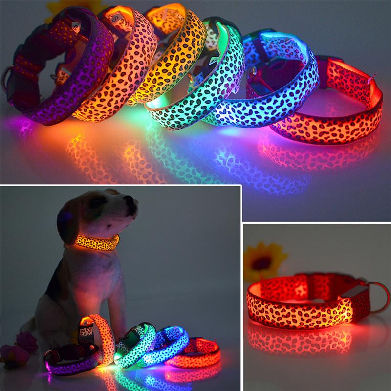 Flashing In Dark Safety LED Dog Collar Fashion Leopard Nylon 3 Mode Lighting LED Pet Collar 2.5cm Wide Luminous Pet Products(China (Mainland))