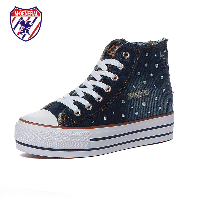 M.GENERAL Women Fashion Canvas Casual Shoes Denim High Cut Platform Scarpe Donna Walking Polka Dot Leisure Sapatos Hot M6623(China (Mainland))