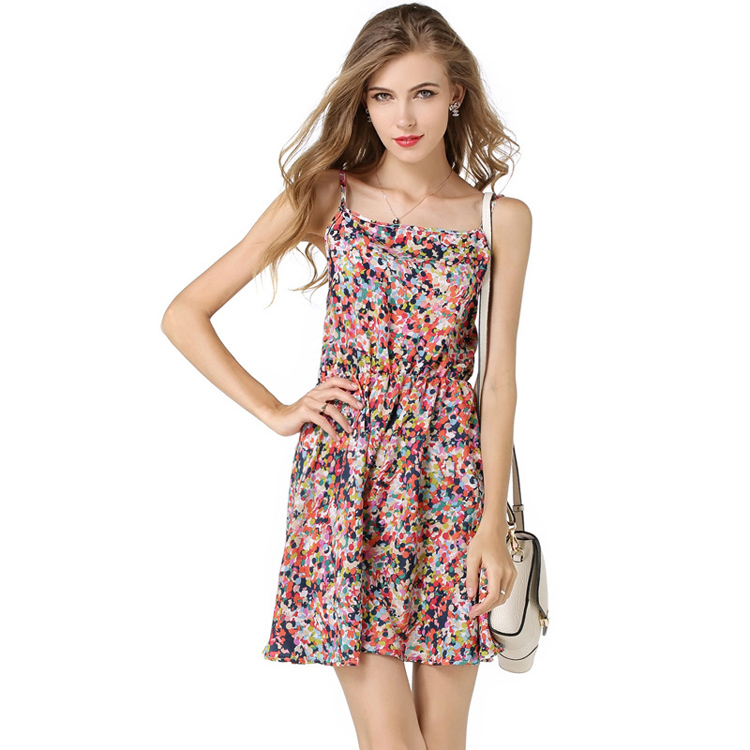 New Fashion Summer Dress 2015 Women Floral Print Dress Chiffon Backless Spaghetti Strap Dress